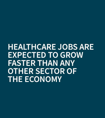 Healthcare job growth is expected to grow faster than any other sector of the economy.