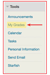 BlackBoard grades link location