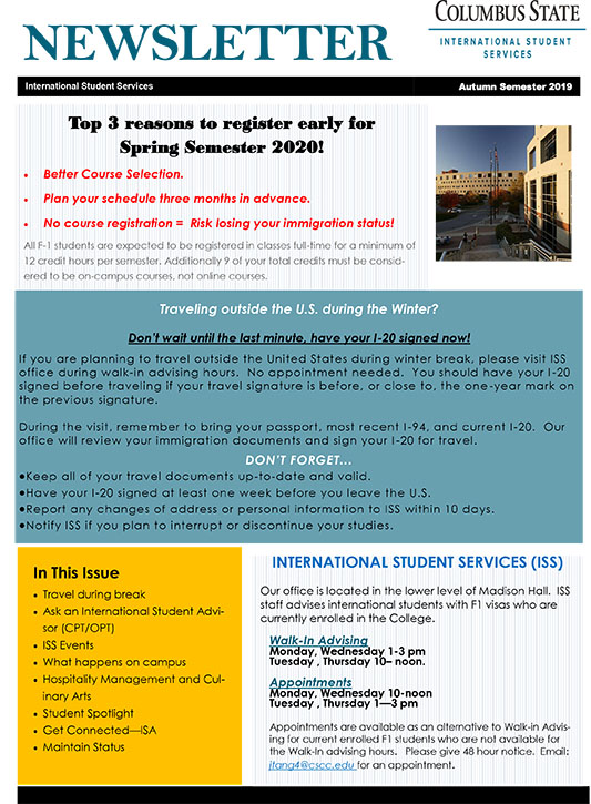 International Student Newsletter