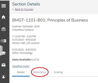 Screenshot of attendance tracking interface