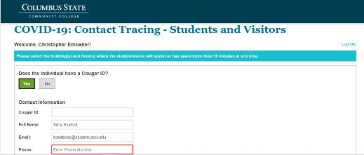 Screenshot of contact tracing registry