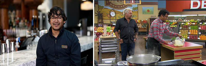 A photo with Avishar Barua on the left, then a photo on the right with Guy Fieri from the Food Network and Avishar Barua.